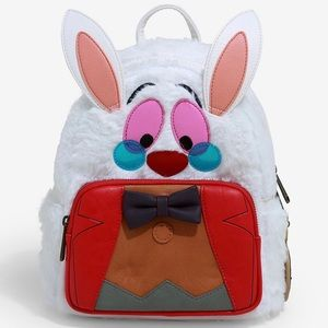 LOUNGEFLY DISNEY FUR WHITE RABBIT LEATHER BACKPACK
